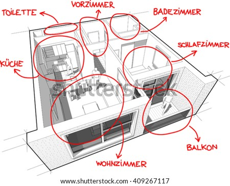3d illustration of Apartment diagram with hand drawn notes in german language - stock vector