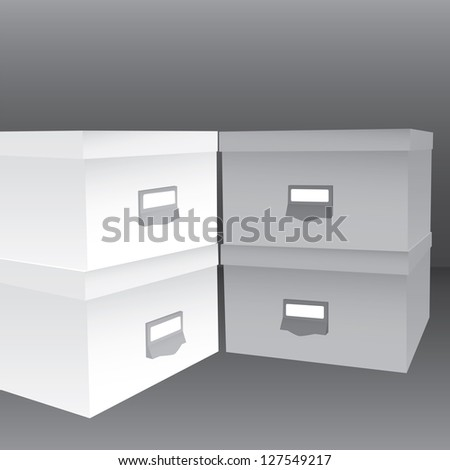 3d illustration of closed boxes in light and dark grey tones - stock vector