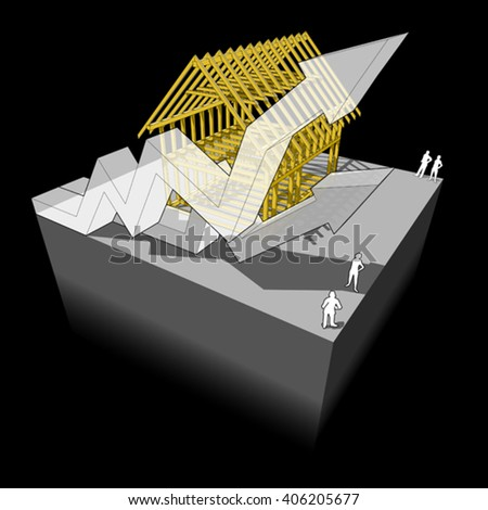 3d illustration of Construction of simple detached house with wooden framework construction with two rising business diagram arrows - stock vector