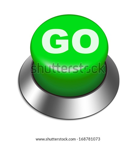 3d illustration of go button isolated white background  - stock vector