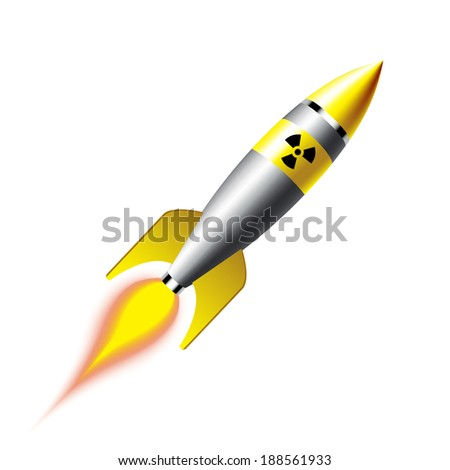 3d illustration of nuclear missile over dark background - stock vector