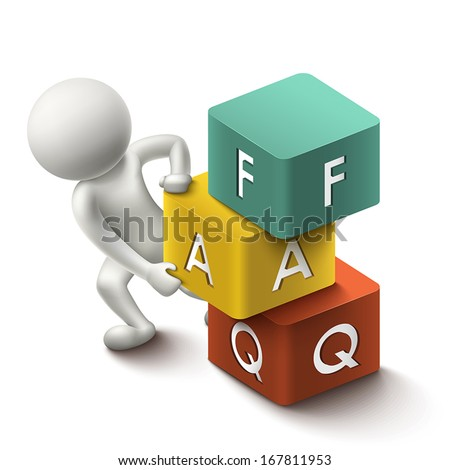 3d illustration of person with word FAQ cubes - stock vector