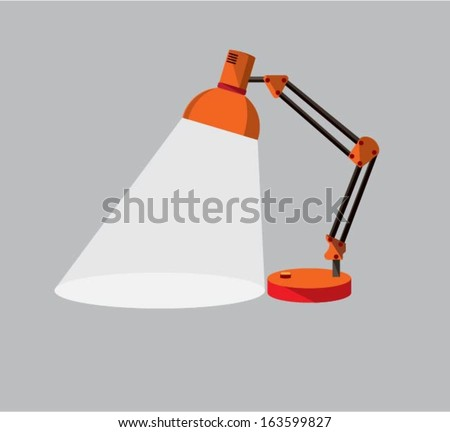 3d illustration of red table lamp isolated on white background - stock vector