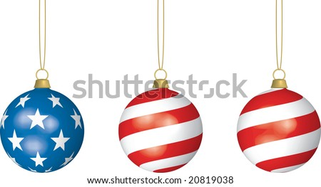3D illustration of three American Flag-themed Christmas Bulbs hanging from thin strings on white background. - stock vector