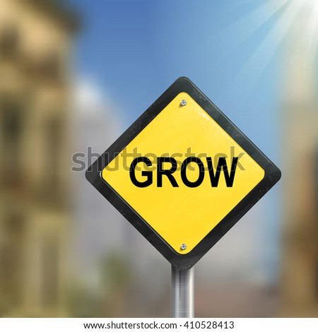 3d illustration of yellow roadsign of grow  isolated on blurred street scene - stock vector