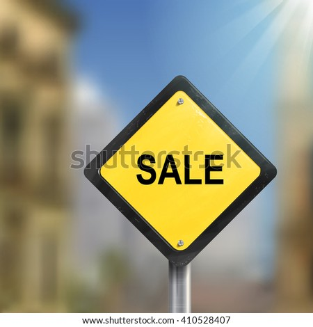 3d illustration of yellow roadsign of sale isolated on blurred street scene - stock vector