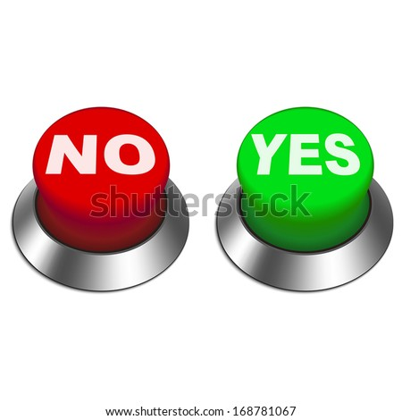 3d illustration of yes and no buttons isolated white background  - stock vector