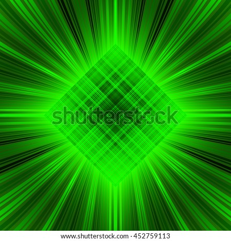 3d illustration. Radiant green psychedelic background. The three-dimensional space of the room. The prospect of converging to the center of the multi-colored stripes. - stock vector