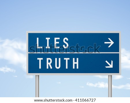 3d illustration road sign with lies and truth isolated on blue sky - stock vector