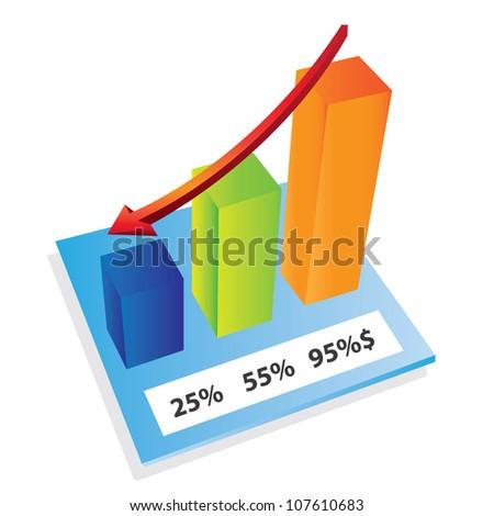 3d increasing bar sales - stock vector