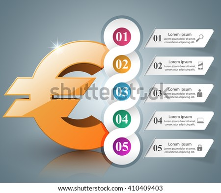 3D infographic design template and marketing icons. Euro icon. Money icon. - stock vector