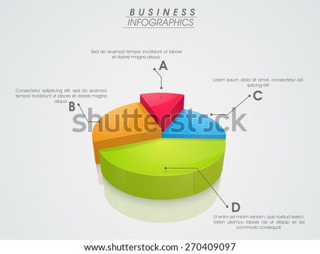 3D infographics pie chart showing professional data by different colors on grey background.  - stock vector
