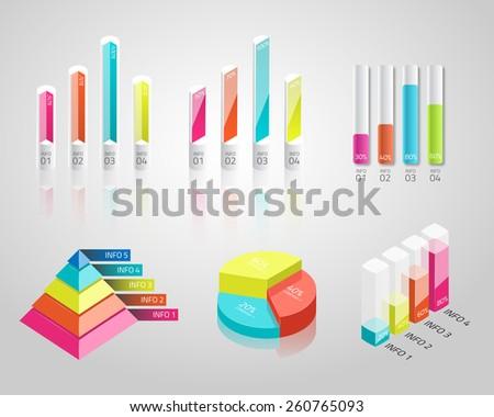 3D isometric bar, pie, pyramid charts. Vector infographics. - stock vector