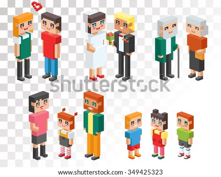 3d isometric family couples love hearts. Children, kids people concept 3d icons. Flirting, love, first date, wedding and parenting. Family together concept. People wedding, Valentine day people couple - stock vector