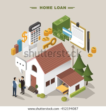3d isometric flat design - Home loan concept - stock vector