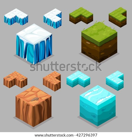 3D Isometric Landscape Cube - Ice, desert , land and water Element. Icon Can be used for Game, Web, Mobile App, Infographics. Game asset. - stock vector