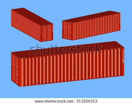 3D isometric metal red containers set - stock vector