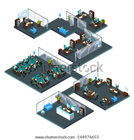 3d Isometric office with colleagues from different departments: receptionist at reception, customer service, call center, managers, director, sales manager, waiting room, office room, open space - stock vector