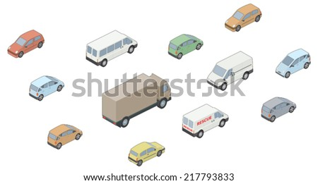 3D, Isometric selection of vehicles - stock vector