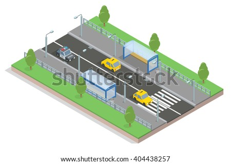 3d isometric stretch of road to the bus stop and machinery, lawn and trees, crosswalk and lampposts - stock vector