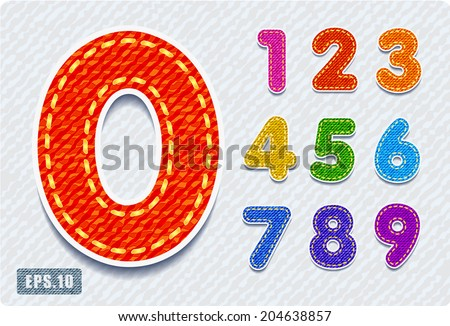 3d Joyful colorful denim jeans numerals. Zero 0 One 1 Two 2 Three 3 Four 4 Five 5 Six 6 Seven 7 eight 8 nine 9. The rest of uppercase and lowercase letters and numbers of the alphabet in my portfolio. - stock vector