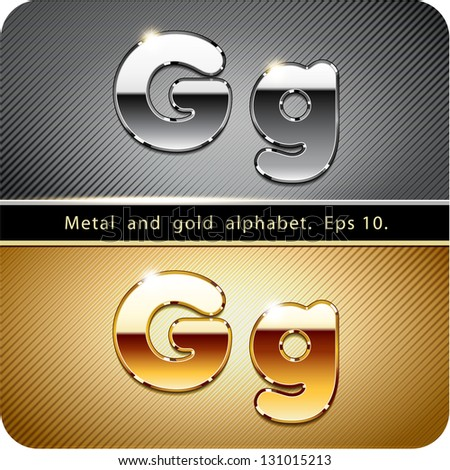 "3d Joyful set of chrome metal and gold vector alphabet. The letter ""G"".Eps 10. The rest of uppercase and lowercase letters, symbols and numbers of the alphabet in my portfolio. - stock vector"