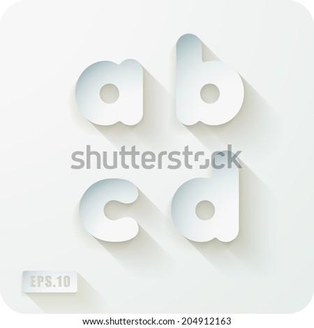 3d Joyful set of cut paper vector concave alphabet letters. Lowercase letter a, letter b , letter c, letter d. Eps 10 - stock vector