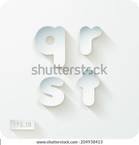 3d Joyful set of cut paper vector concave alphabet letters. Lowercase letter q, letter r , letter s, letter t. Eps 10 - stock vector