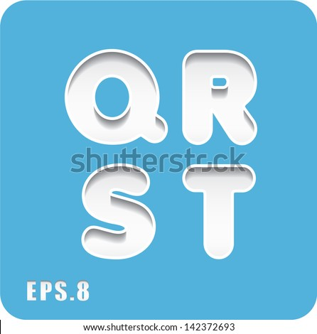 3d Joyful set of cut paper vector letters on blue background, Q,R,S,T. Eps 8. The rest of uppercase and lowercase letters, symbols and numbers of the alphabet in my portfolio. - stock vector