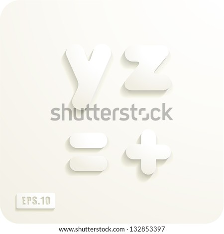 3d Joyful set of cut paper vector lowercase letters, y,z,equal, plus. Eps 10. The rest of uppercase and lowercase letters, symbols and numbers of the alphabet in my portfolio. - stock vector