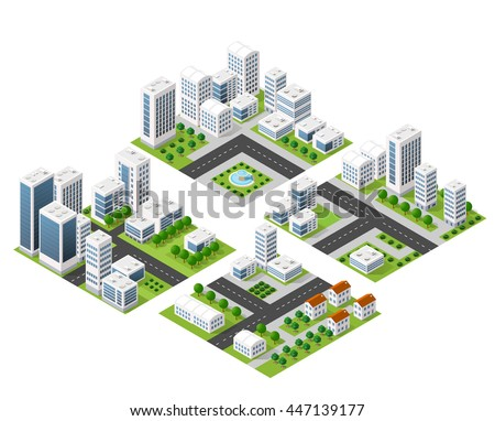 3D  kit metropolis of skyscrapers, houses, gardens and streets in a three-dimensional isometric view - stock vector