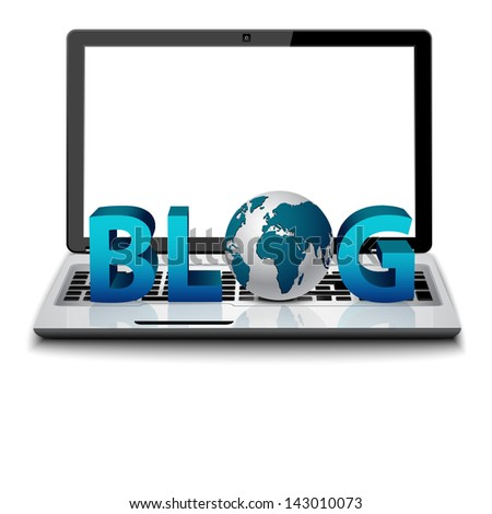 3d laptop with logo blog and globe - stock vector