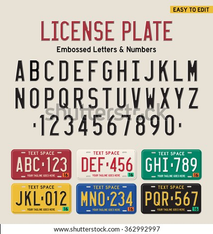 3d license plate font and license plate set - stock vector