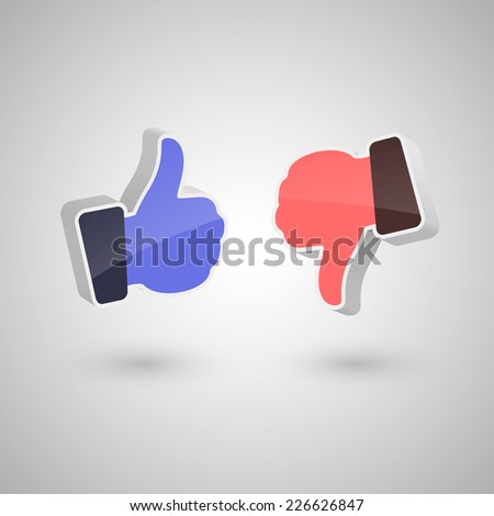 3d like and dislike hands icons. Isolated on white background. Vector illustration, eps 10. - stock vector