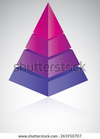 3D looking vector illustration of a layered pyramid graph isolated on white background - stock vector
