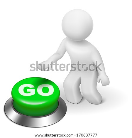 3d man is pushing the GO button isolated white background - stock vector