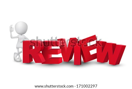 "3d man showing okay hand sign with a word ""review"" - stock vector"
