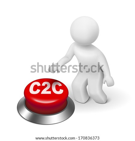 3d man with c2c client to client button isolated white background  - stock vector