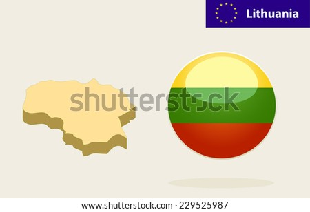 3D Map of Lithuania.Vector - Lithuania Flag Glossy Button - stock vector