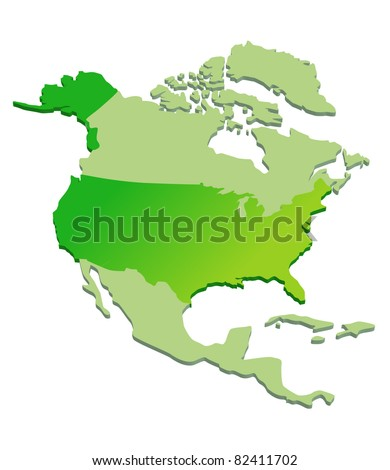 3D Map of North America - stock vector