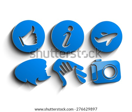 3d Media and communication icons - stock vector