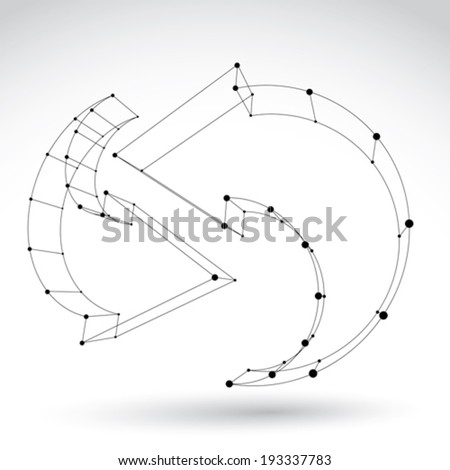 3d mesh black stylish web update sign isolated on white background, colorless elegant carcass renew icon, dimensional sketch tech refresh symbol, monochrome clear eps 8 vector illustration. - stock vector