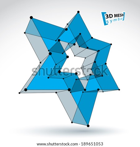 3d mesh blue star sign isolated on white background, colorful elegant lattice superstar icon, dimensional tech pentagonal object, bright clear eps 8 vector illustration, carcass pop star icon. - stock vector