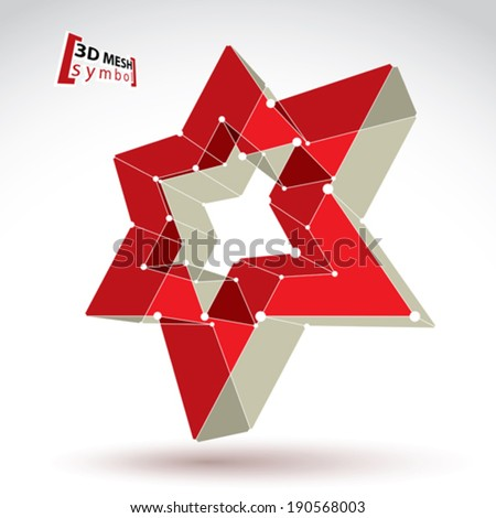 3d mesh soviet red star sign isolated on white background, colorful elegant lattice superstar icon, dimensional tech USSR symbol, bright clear eps 8 vector illustration, pop star icon with white lines - stock vector