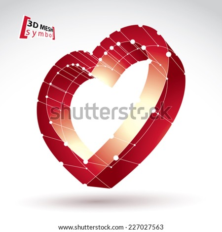 3d mesh stylish web red love heart sign isolated on white background, colorful elegant carcass loving heart icon, dimensional sketch tech cardiology symbol, bright clear eps 8 vector illustration. - stock vector