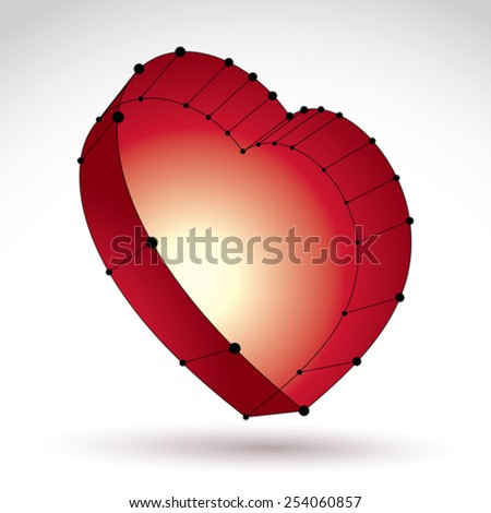 3d mesh stylish web red love heart sign isolated on white background, loving heart icon, dimensional sketch tech cardiology symbol with black lines - stock vector