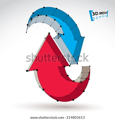 3d mesh stylish web update sign isolated on white background, colorful elegant lattice renew icon, dimensional tech refresh symbol, bright clear eps 8 vector illustration. - stock vector