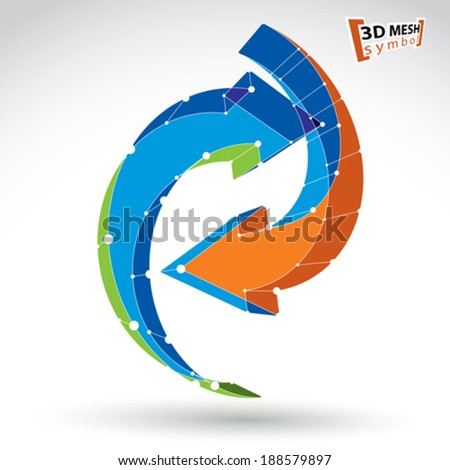 3d mesh stylish web update sign isolated on white background, colorful lattice renew icon, dimensional tech refresh symbol, bright clear eps 8 vector illustration, multicolored loop. - stock vector