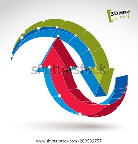 3d mesh stylish web update sign isolated on white background, colorful overlap renew icon, dimensional tech refresh symbol, bright clear eps 8 vector illustration. - stock vector