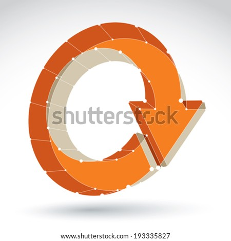 3d mesh stylish web update sign isolated on white background, orange elegant lattice renew icon, dimensional tech refresh symbol, bright clear eps 8 vector illustration. - stock vector
